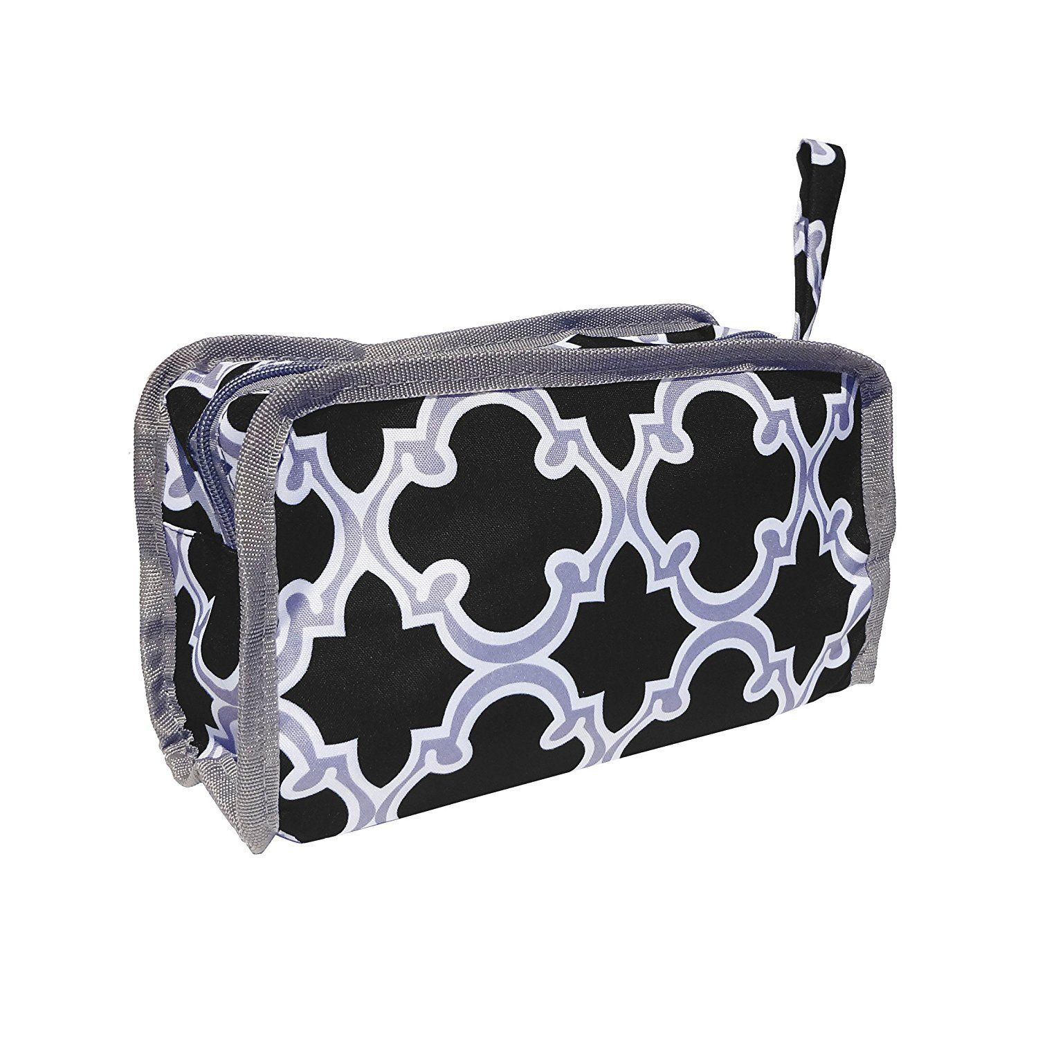 Best Quatrefoil Black and Gray Lined Hanging Toiletry