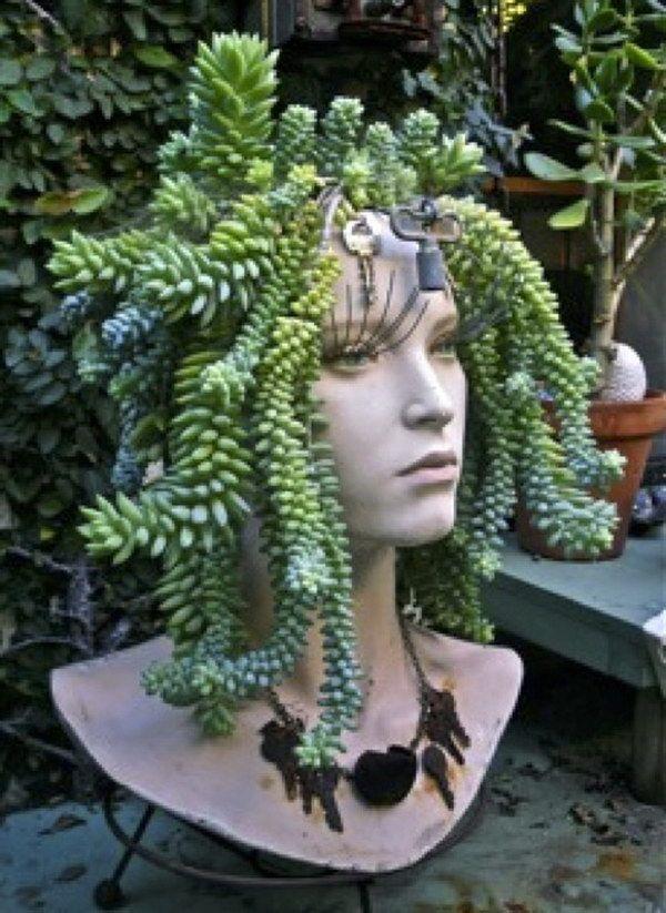 Unusual Planters For Sale Part - 23: Mannequin Head Succulent Planter .
