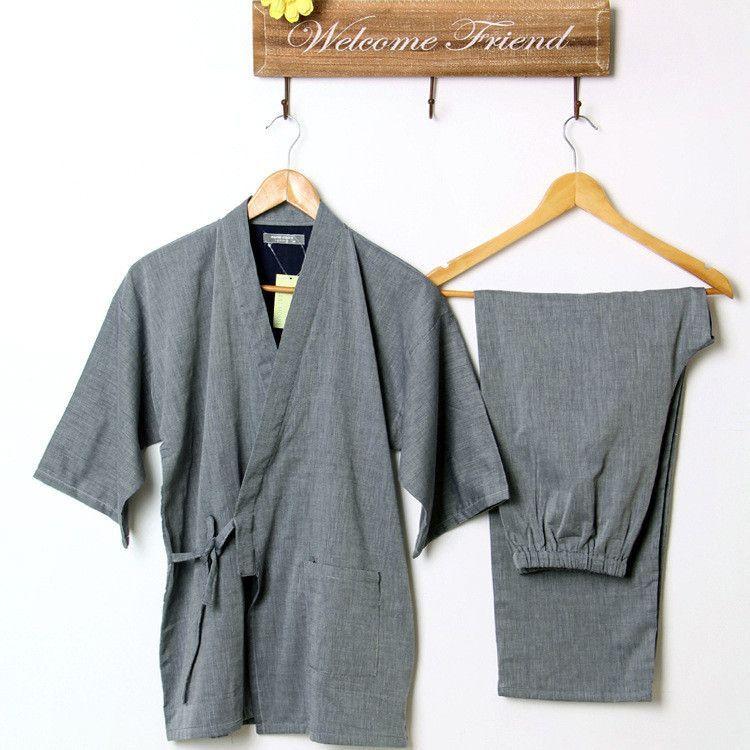 17326656d1084 Cotton Yukata Japanese Kimono Traditional Japanese Men s Clothing Japanese  Pajamas Men s Sleepwear Lounge Home Clothing Suits