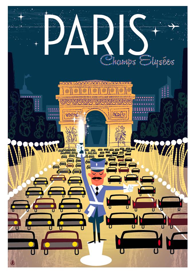 Travel Poster - Paris - Champs Elysées - Monsieur Z.