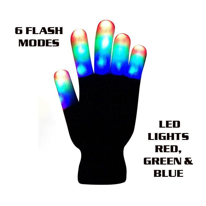 The Noodley's Flashing LED Finger Light Gloves - Kids and Teen Size with Extra Batteries