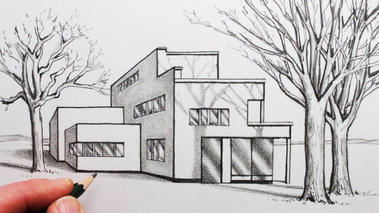 Dessin Immeuble En Perspective How To Draw A House In 1 Point Perspective With Trees And