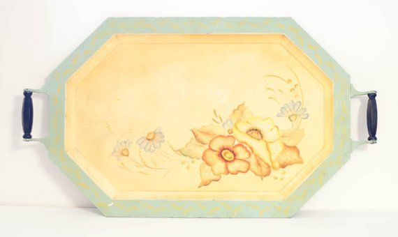 Vintage tole painted metal tray pastel floral octagon with wooden handles shabby chic light blue yel #tolepainting