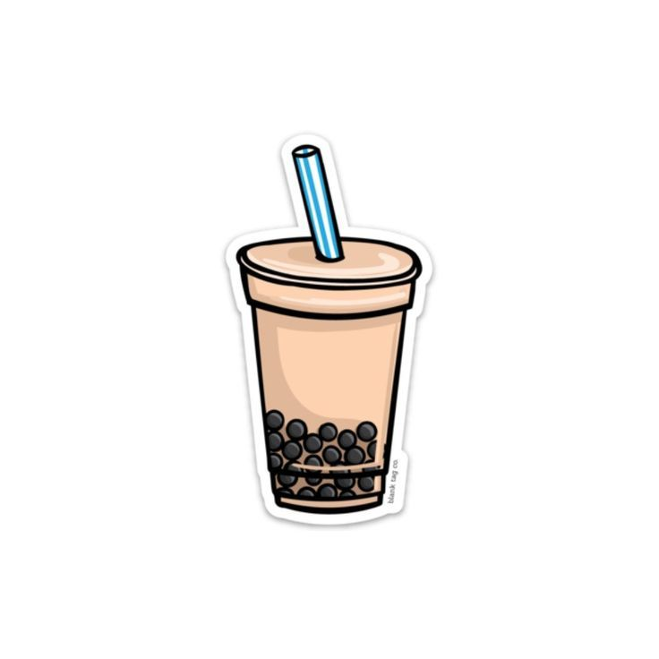 The Milk Tea With Boba Sticker (With images) | Food ...