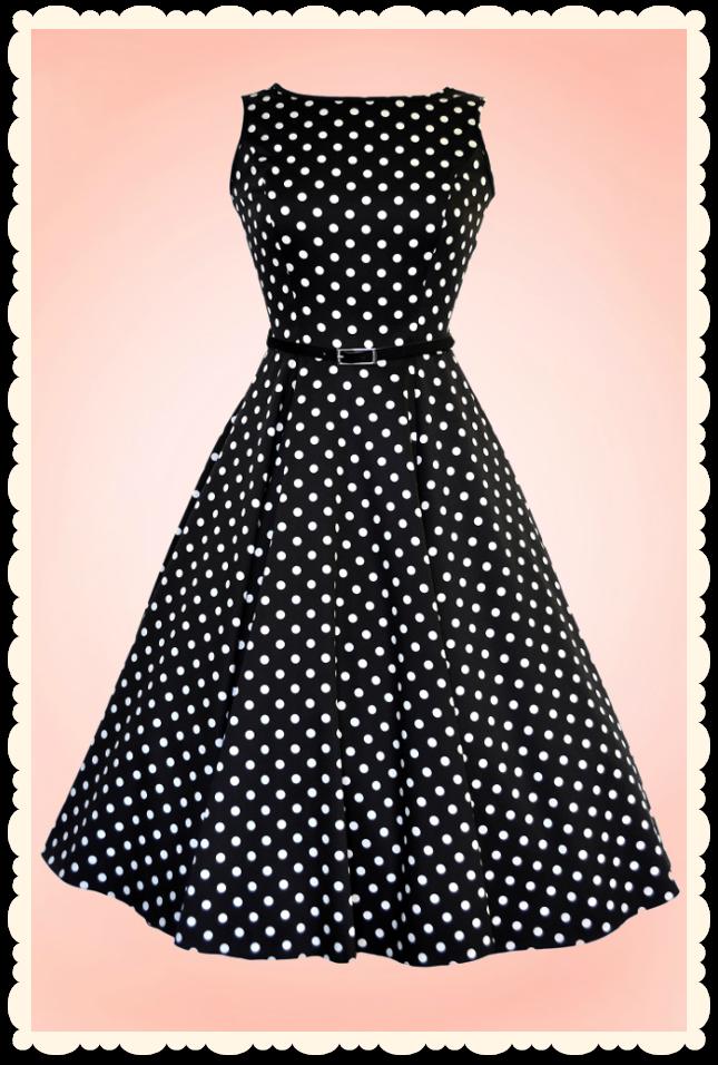 85af85e0998 Robe vintage pin-up années 50 Audrey Hepburn pois noire ...