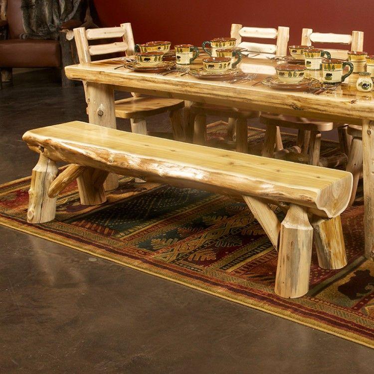 Cedar Lake Half Log Bench Мебель из бревна Log Bedroom