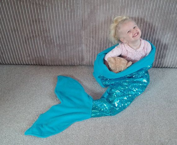 MAGIC SEQUIN KNITTED SOFA MERMAID TAIL BLANKET QUILT RUG COCOON ADULTS KIDS NEW