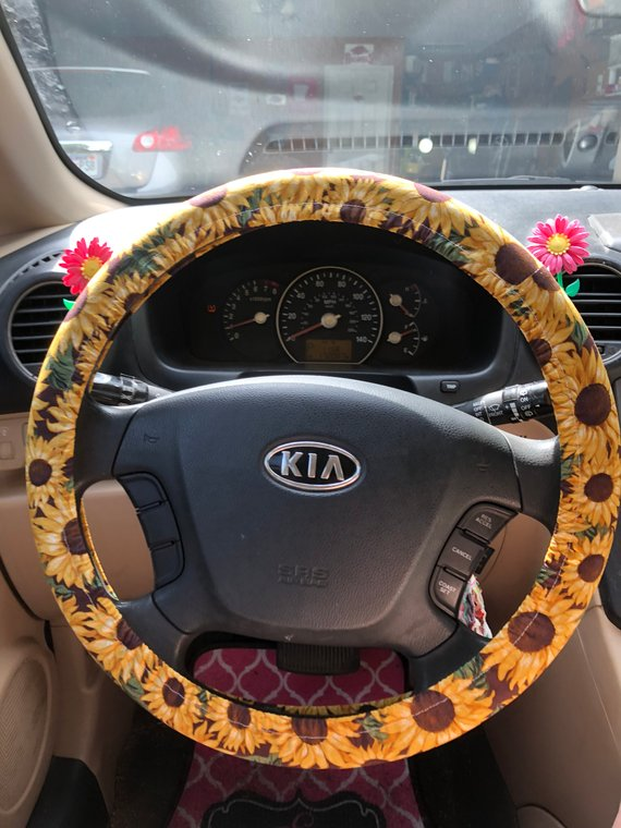 Marvelous Sunflower With Leaves Steering Wheel Cover Cute Car Andrewgaddart Wooden Chair Designs For Living Room Andrewgaddartcom
