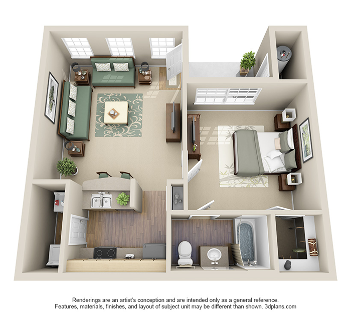 "One Bedroom Apartment Layout 50 one ""1"" bedroom apartment/house plans 