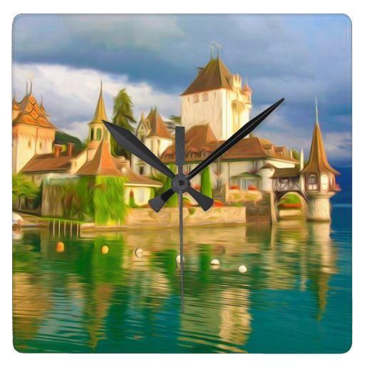 Beautiful castle Oberhofen on the Thun   lake, Sw Clocks