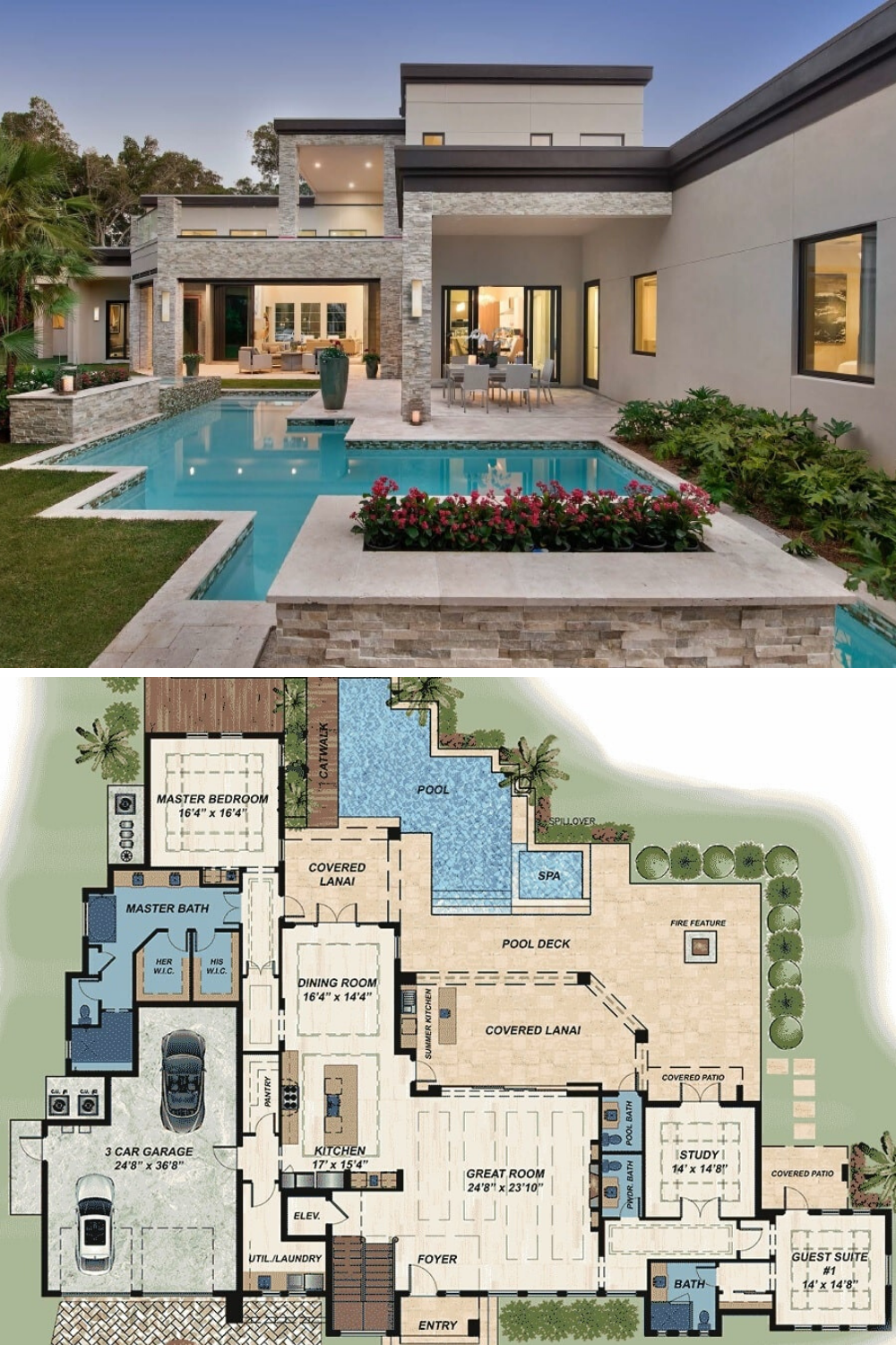Two Story 4 Bedroom Modern Florida Home Floor Plan Beautiful House Plans Modern Style House Plans Sims House Plans