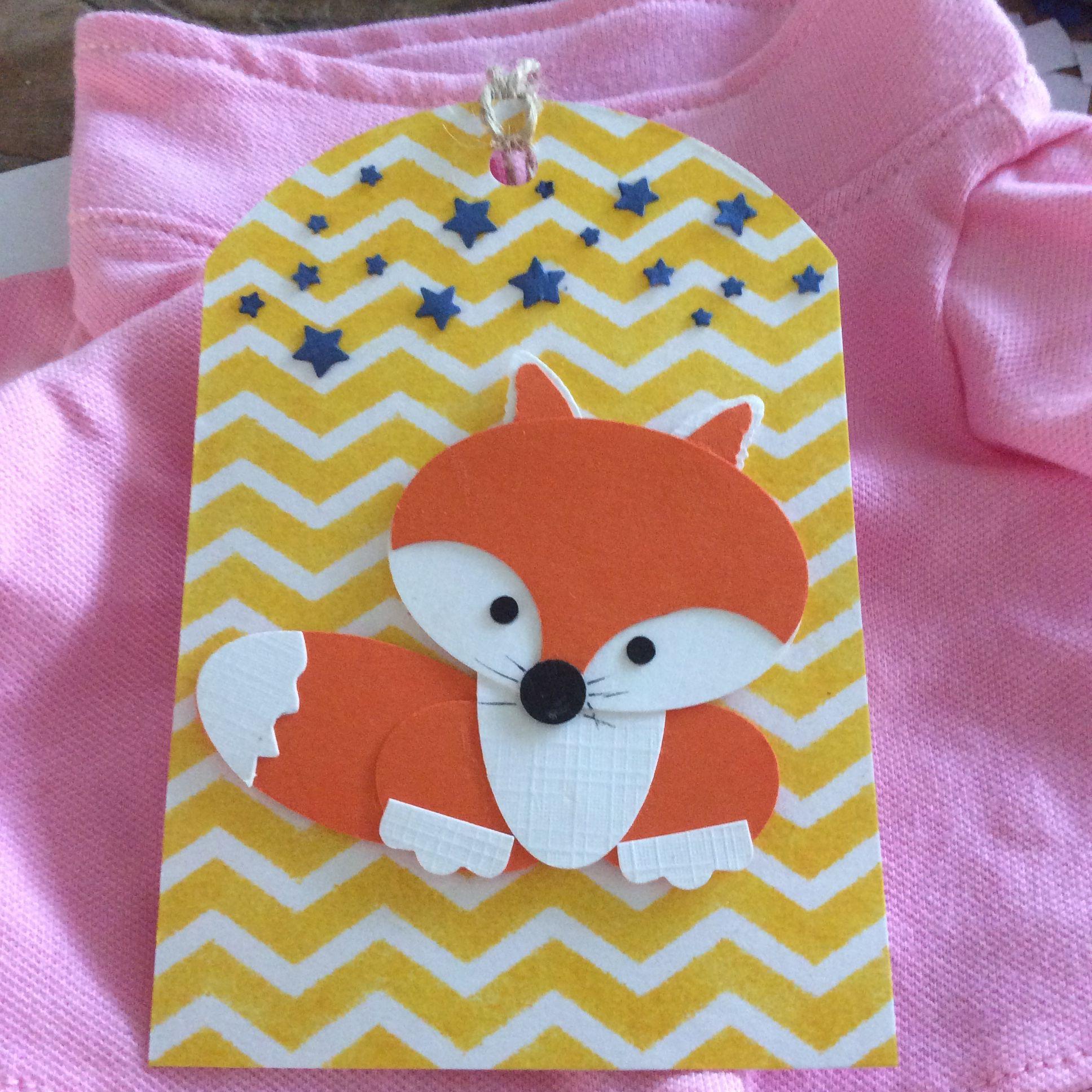 Lieve labels- vosje. Gift tag- fox. Label vos. Voor aan Kraam, geboorte of verjaardag cadeautje. Punch art.