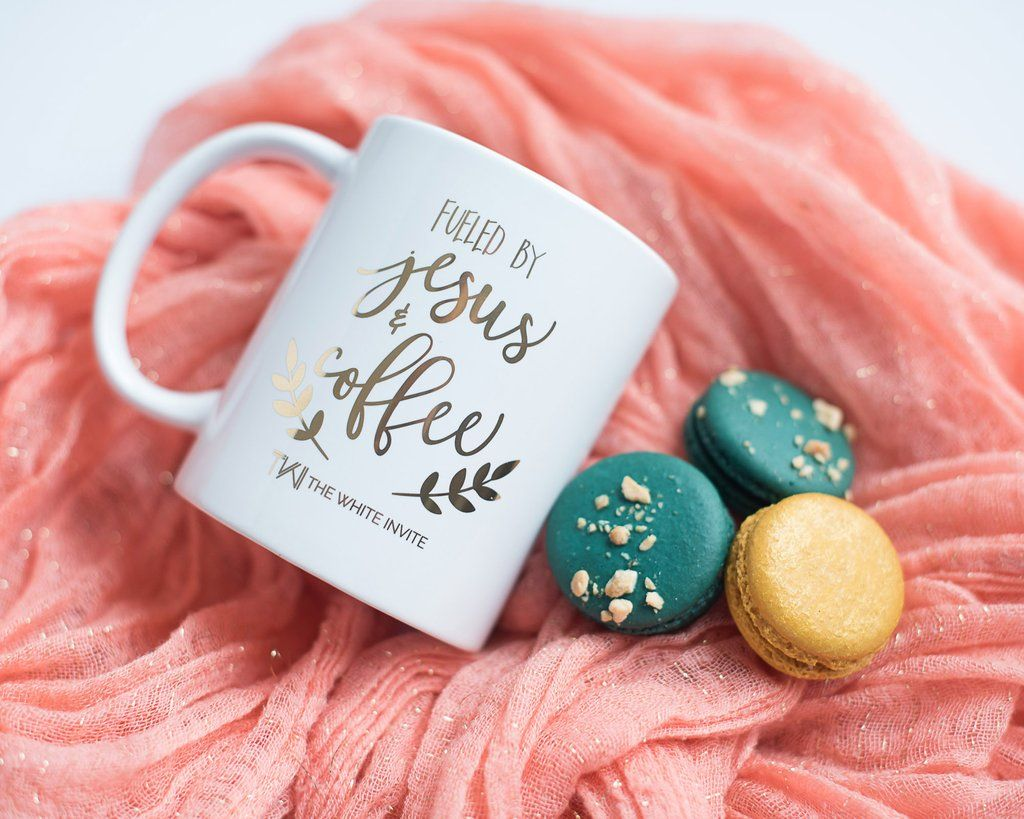 Fueled by Coffee and Jesus - 22ct Metallic Gold Foil- Ceramic Coffee ...