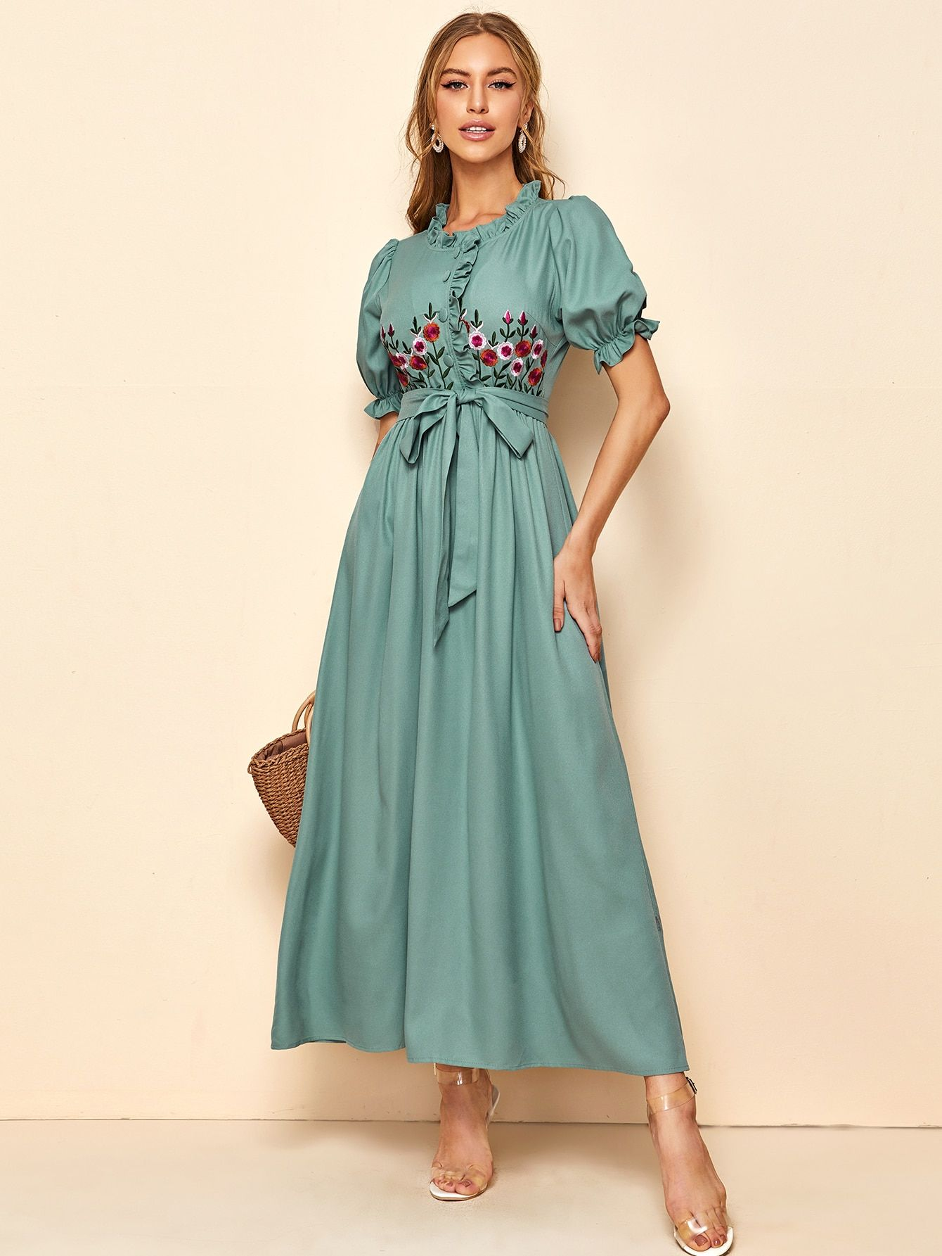 Embroidered floral frill trim button front self belted