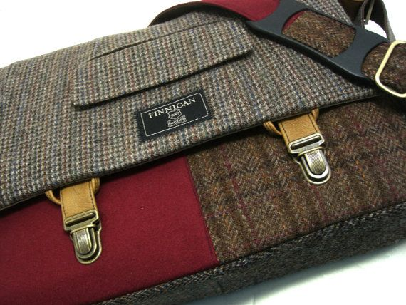 Recycled purse brown wool green houndstooth mens by SewMuchStyle