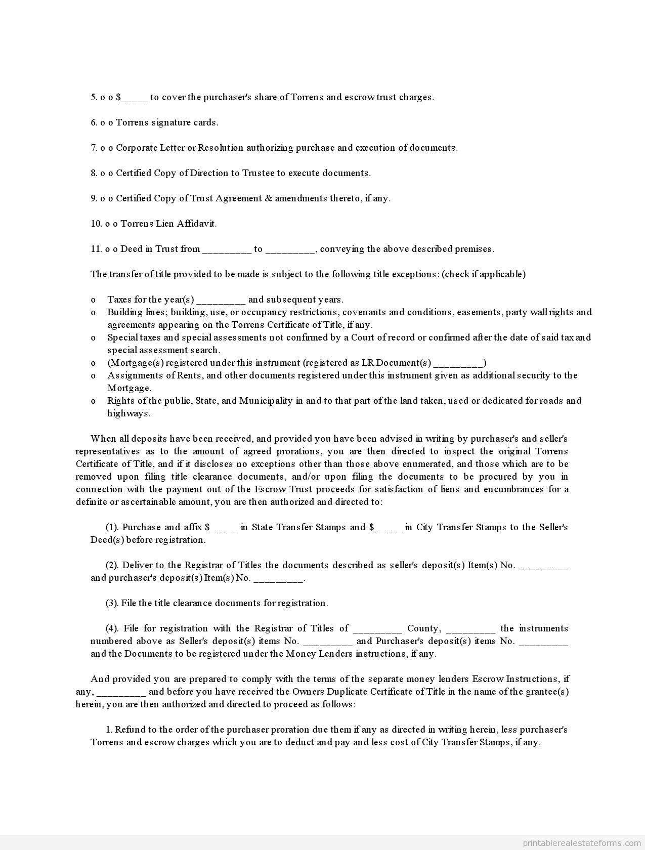 Printable Sample Torrens Title 2 Form Printable Template Legal