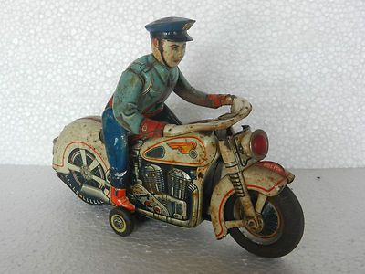 Vintage Battery Police Cop Motorcycle Tin Toy Modern Toys Japan