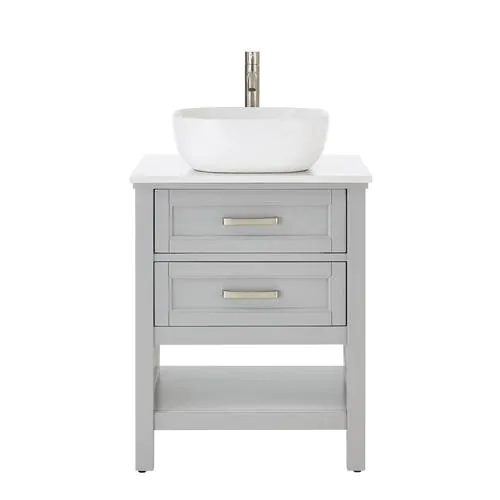 Style Selections Cromlee 24-in Light Gray Single Sink ...