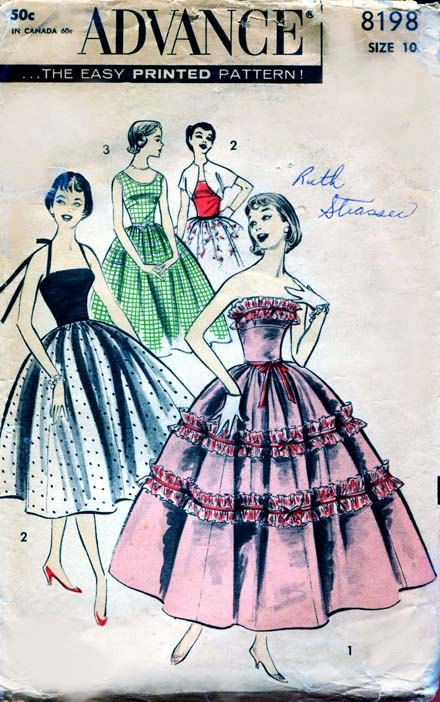 Advance 8198 Vintage 1950s Strapless Prom and Party Dress Pattern - Also Day Dress with Bolero. $15.00, via Etsy.