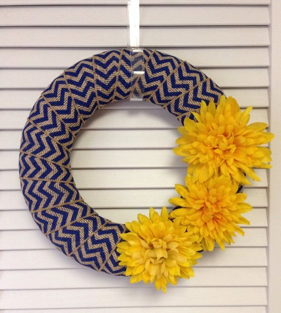 Photo of Navy Chic Modern Wreath, Spring Wreath,  Navy and Yellow Chevron Burlap Wreath, Chevron Wreat…