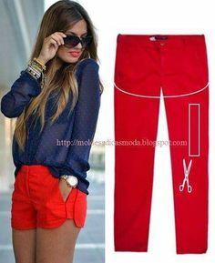 De pantalon a short en 2 cortes!!ideal para agrandar la ropa tambien