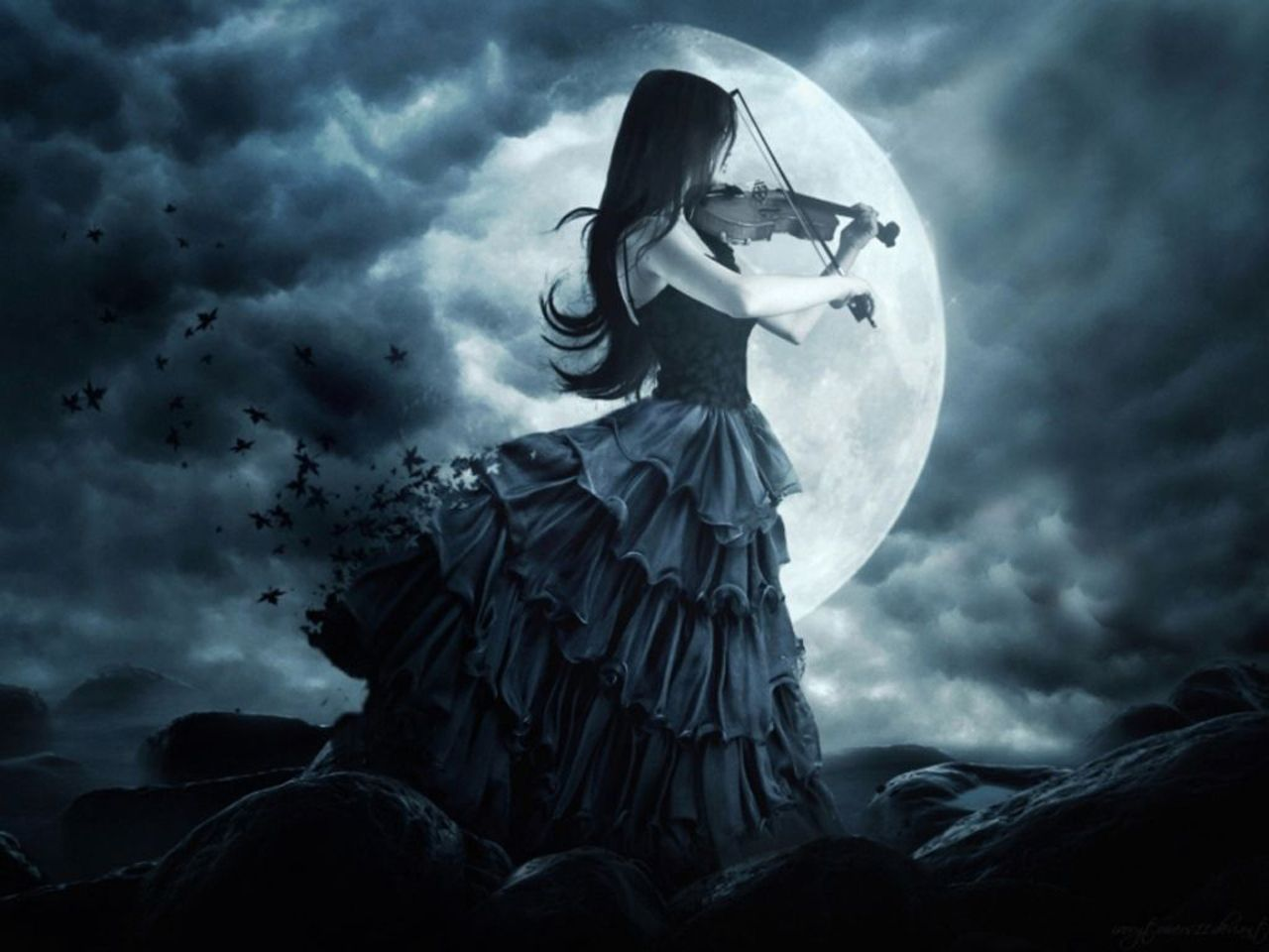 Beautiful Romantic Moonlight Wallpapers Gothic Wallpaper Girl Playing Violin Gothic Music
