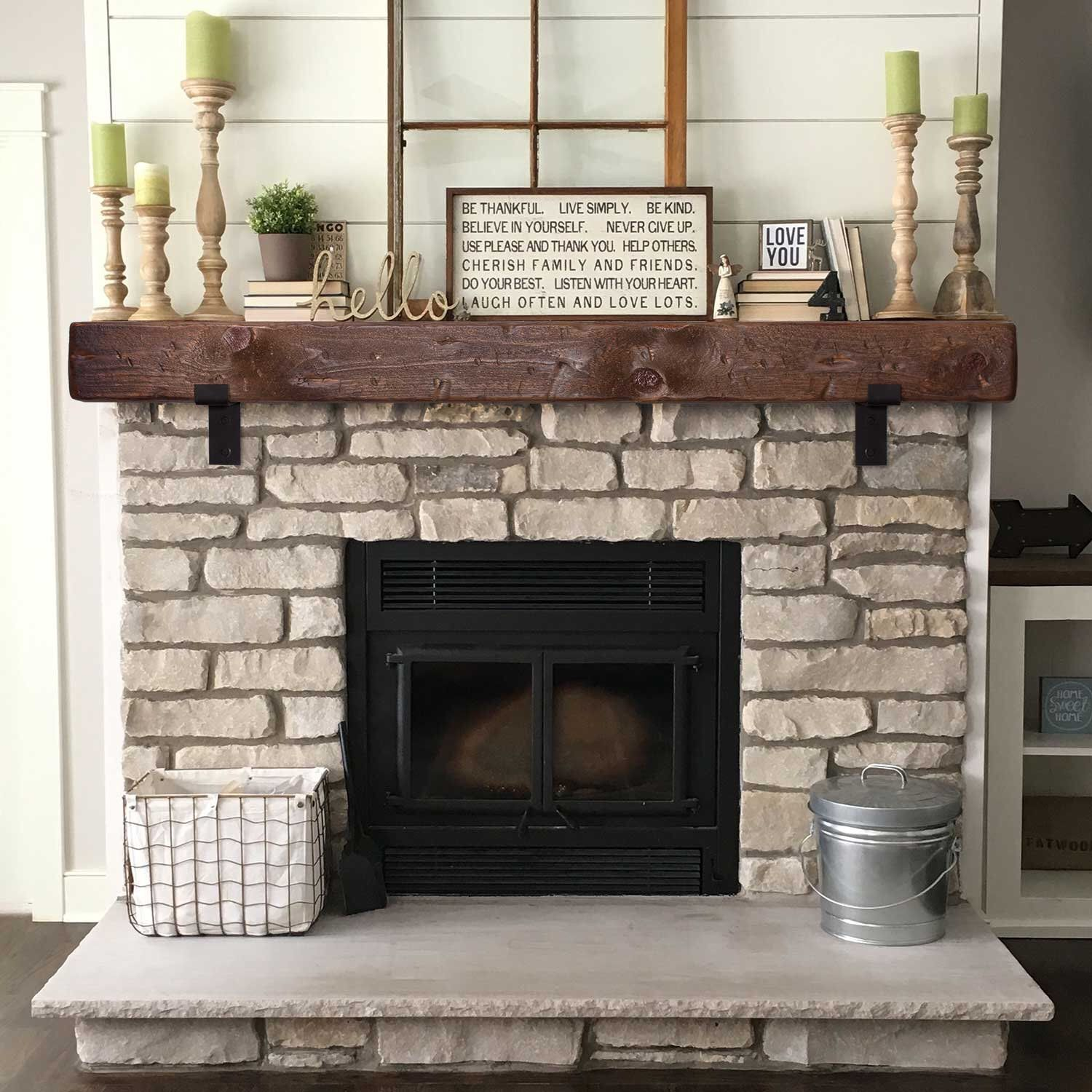 Mantel With Metal Brackets Fireplace Mantel 5x6 6x6 Or 6x8 Mantle Rustic Mantle Floating Barn Wood Barn Beam Custom Lengths Rustic Farmhouse Fireplace Farmhouse Fireplace Decor Home Fireplace