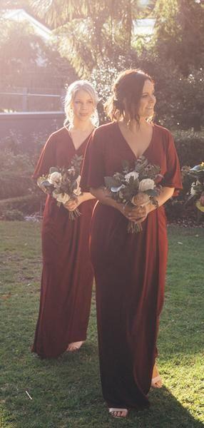 Burgundy V-neck Half Sleeve Plus Size Bridesmaid Dresses, AB4106