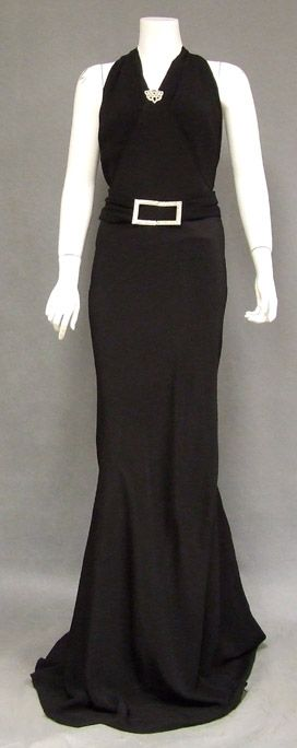 Black Crepe 1930's Evening Gown w/ Dripping Rhinestone Back