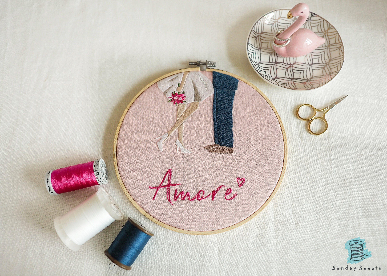 WEDDING EMBROIDERY hoop, Amore wall art, love couple marriage embroidery, custom wedding name, wedding gift, personalized wedding hoop art