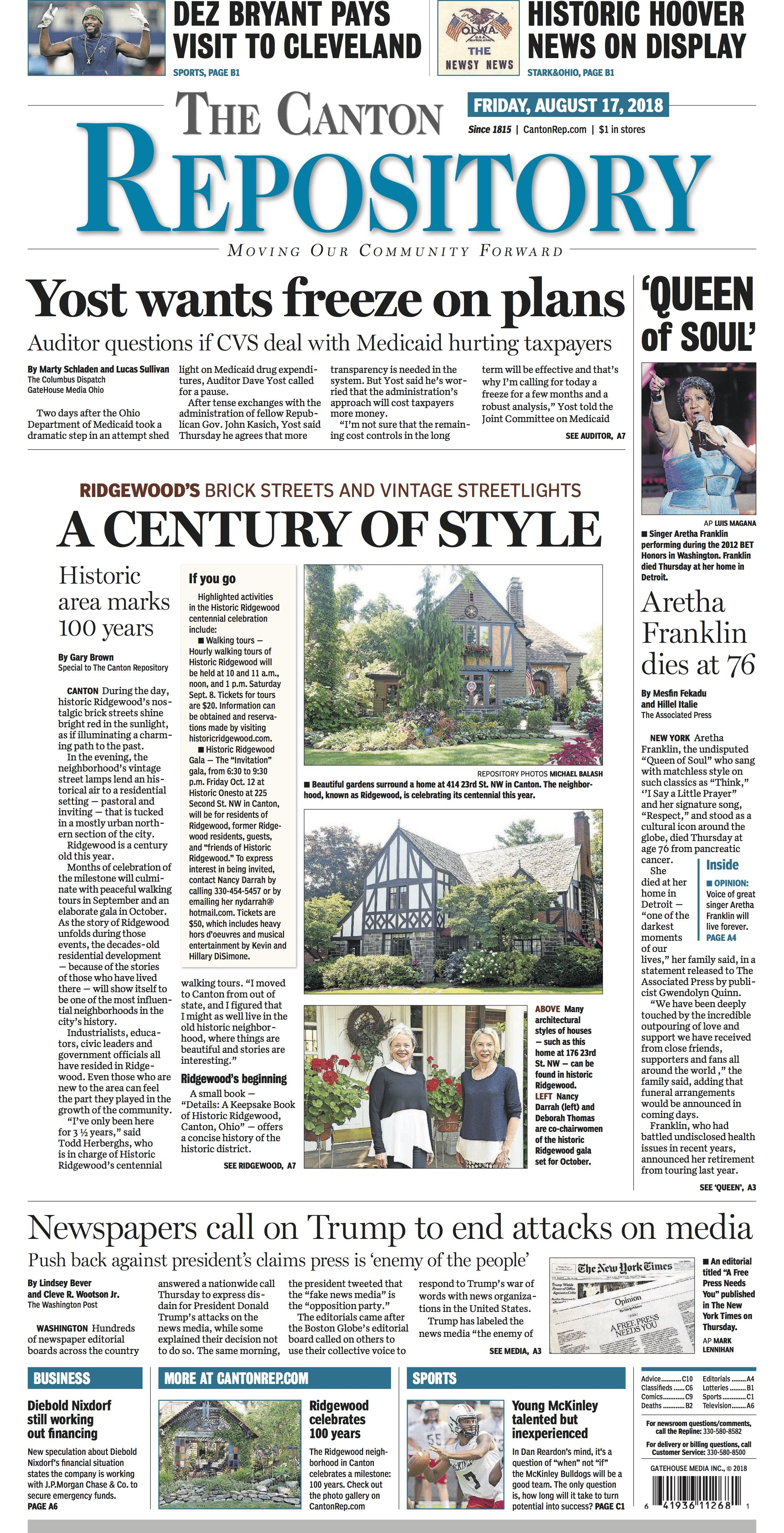 The Front Page Of The Canton Repository For August 17 2018