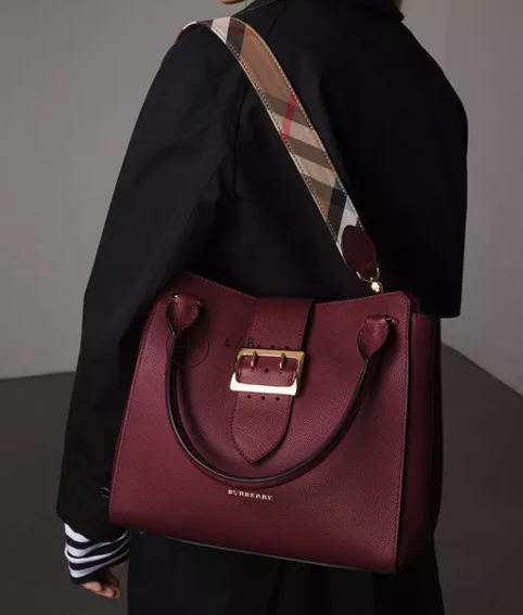 2496fabd413 The Medium Buckle Tote in Grainy Leather Dark Plum  1690   Burberry ...