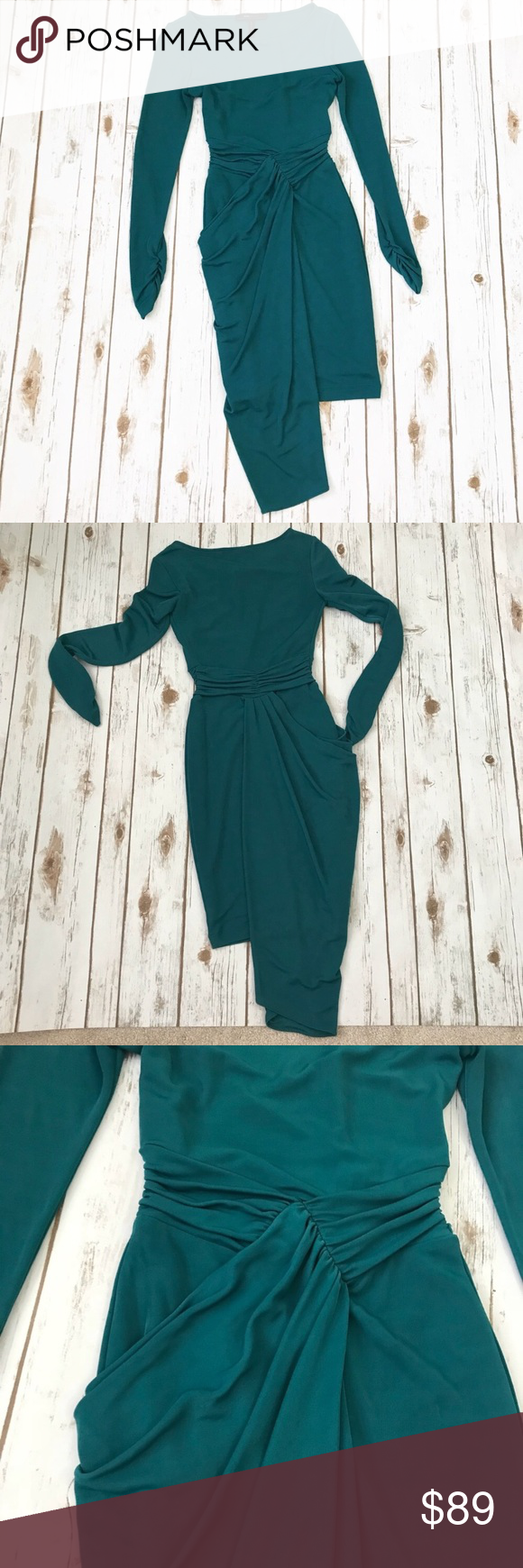 Green long sleeve cocktail dress  BCBG MaxAzria Sosie Jade Green Cocktail Dress  My Posh Closet