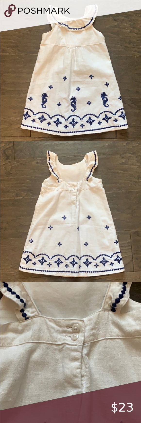 Gymboree White Summer Dress Size 3t Adorable For Summer And Great Quality Dress Size 3t It S A Linen Cotton White Dress Summer Summer Dresses Seahorse Dress [ 1740 x 580 Pixel ]