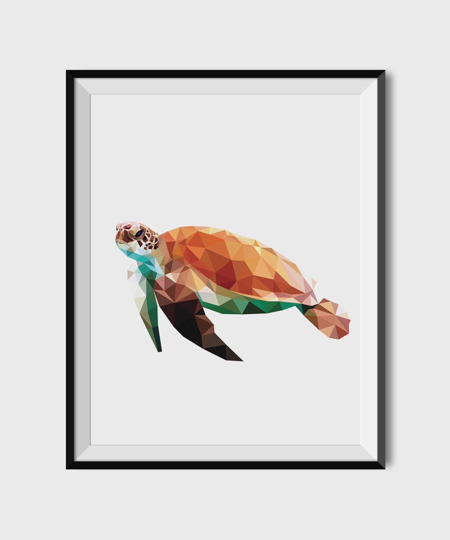 geometric animal print sea turtle printable poster modern