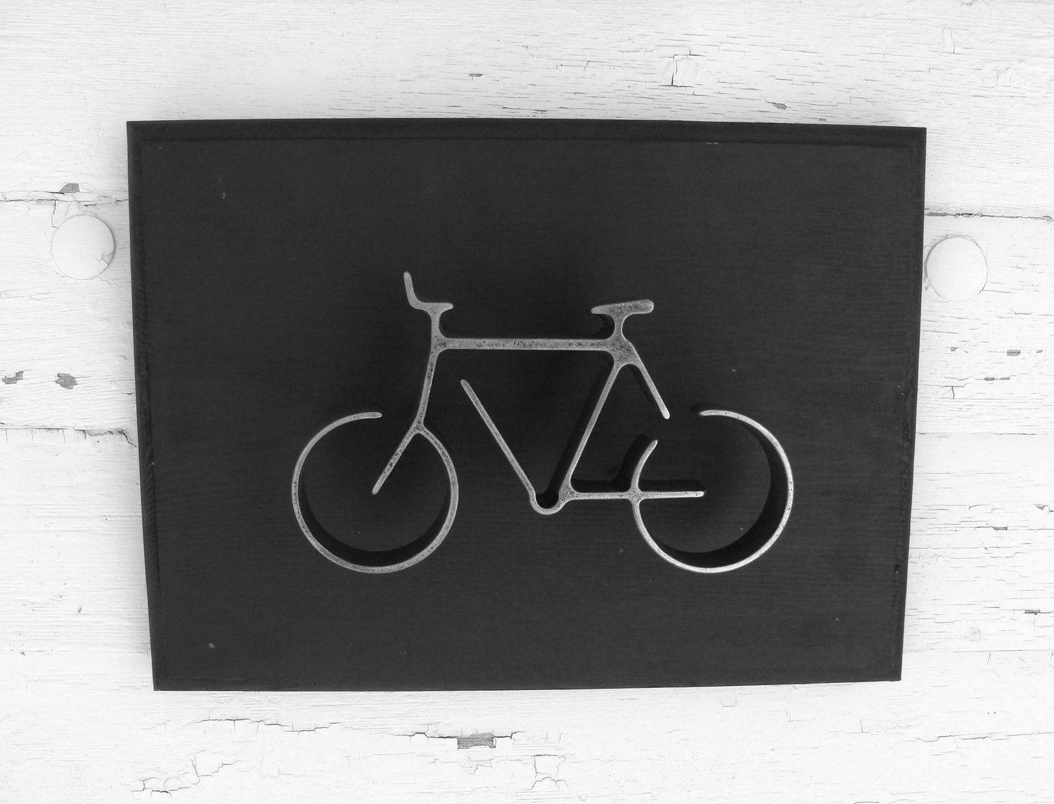 Metal Bike Wall Art Sign Bicycle Hanging Home Or Office Decor Groomsman Gift Modern Black 45 00 Via Etsy