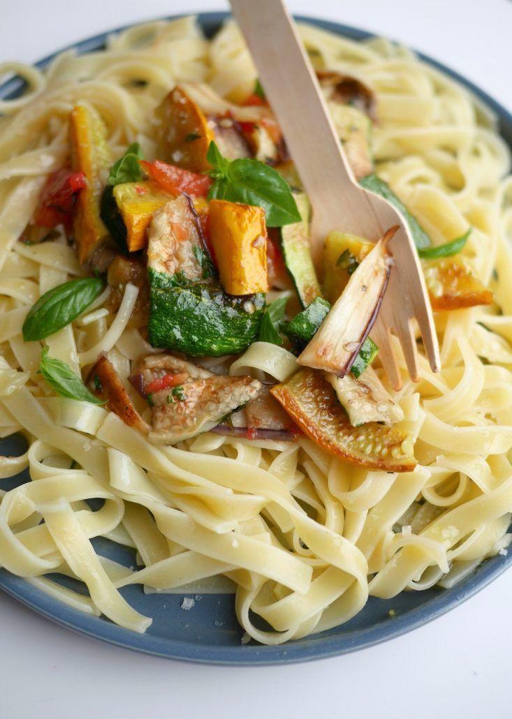 Pâtes aux légumes grillés | Recette | Pates aux legumes, Idée recette, Tagliatelles