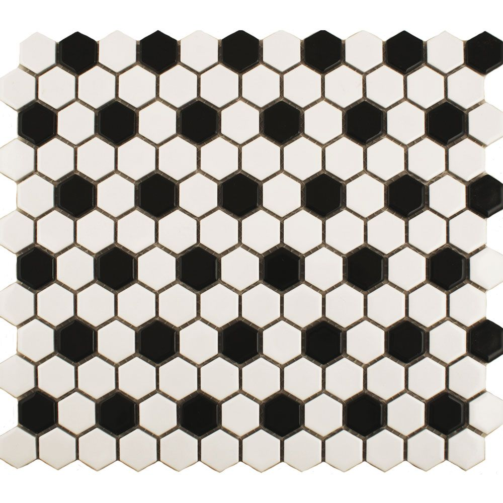 Small Black And White Bathroom Tile 50s   Google Search
