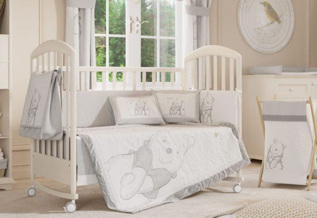 4 Piece Unisex Grey Winnie The Pooh Baby Crib Bedding Cot Set Rrp 250 00 Ebay Baby Bedroom Furniture Sets Crib Bedding Sets Baby Bedding Sets