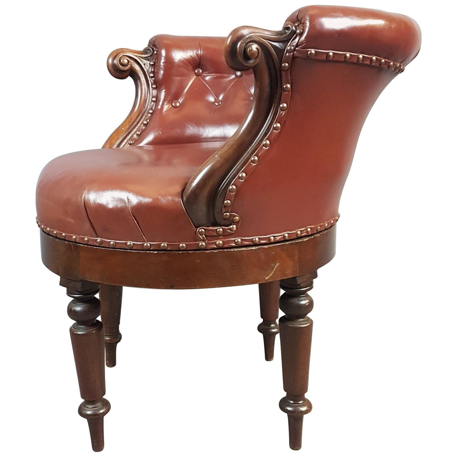 19th Century Mahogany and Leather Swivel Chair Leather
