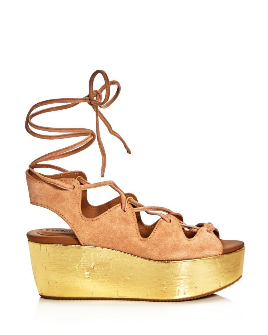 6193e5f4c4 See by Chloé Lace Up Metallic Platform Sandals   shoes.shoes.shoes ...