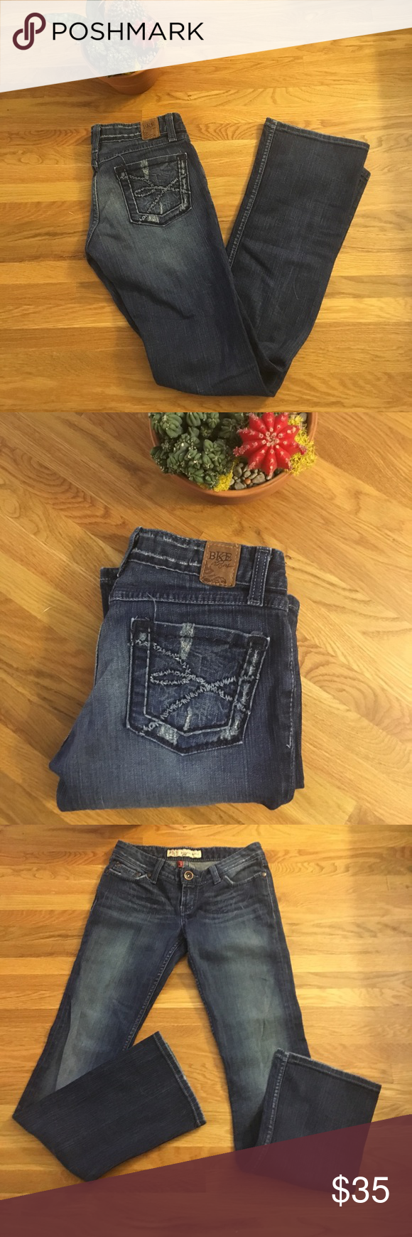 "BKE Jeans Sabrina Bootcut EUC Sz 26 Excellent used condition! Some wear at seat and hems but overall really great shape. I especially love the unique, textured embossed pockets. Waist 14"" across. Inseam 31.75"".  Leg opening 8.25"".  Front rise 7 3/8 inches. Back rise 10.5"". BKE Jeans"