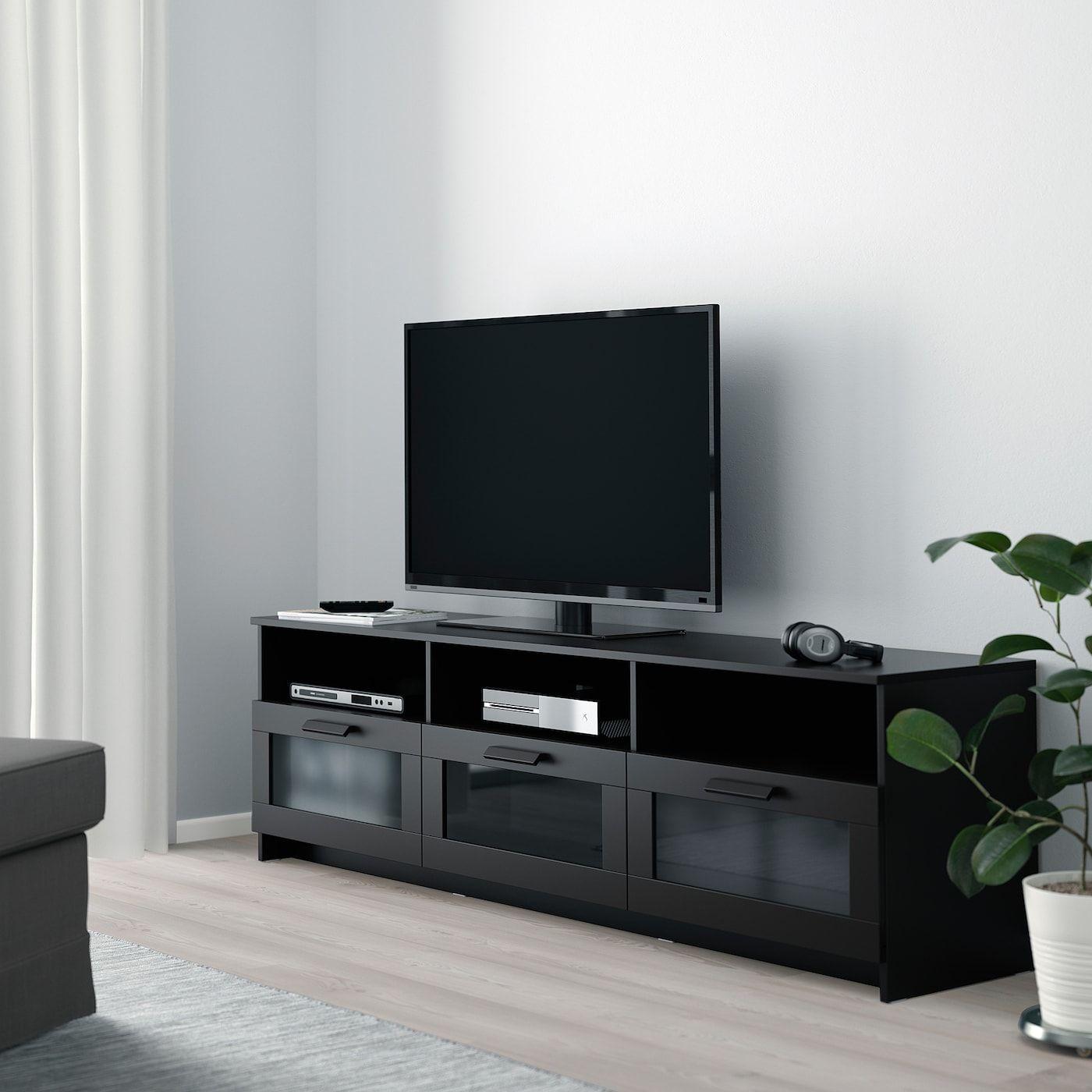 Brimnes Tv Bank Schwarz 180x41x53 Cm Ikea österreich Black Living Room Ikea Entertainment Units Black Living Room Decor