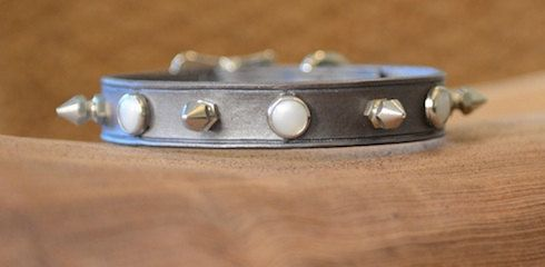 Foxy Dog Collar - Silver leather collar embellished with faux pearl domes and silver spikes. Edgy but elegant.. $40.00, via Etsy.