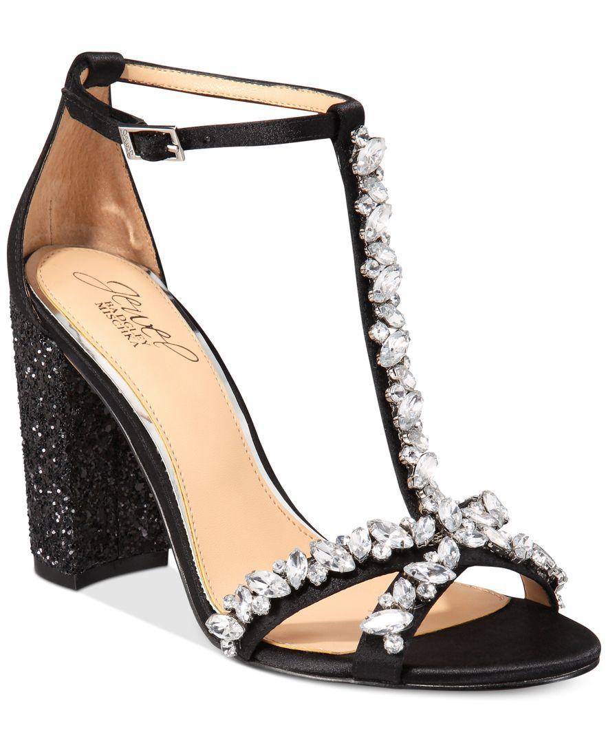 9bfe6cc933a36 Jewel Badgley Mischka Carver Block-Heel Evening Sandals | Products ...