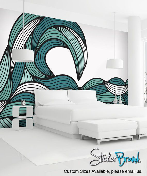 Items Similar To Wall Mural Decal Sticker Bristle Ocean Wave Green