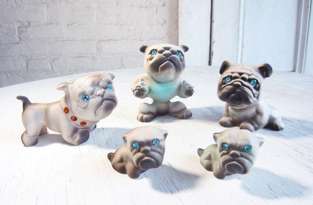 1950s Family of PUGS Roselane Pottery California Entire