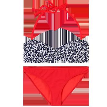 Weekend. Modelo: 8960. Bikini con brassiere estampado en anclas y calzón liso.
