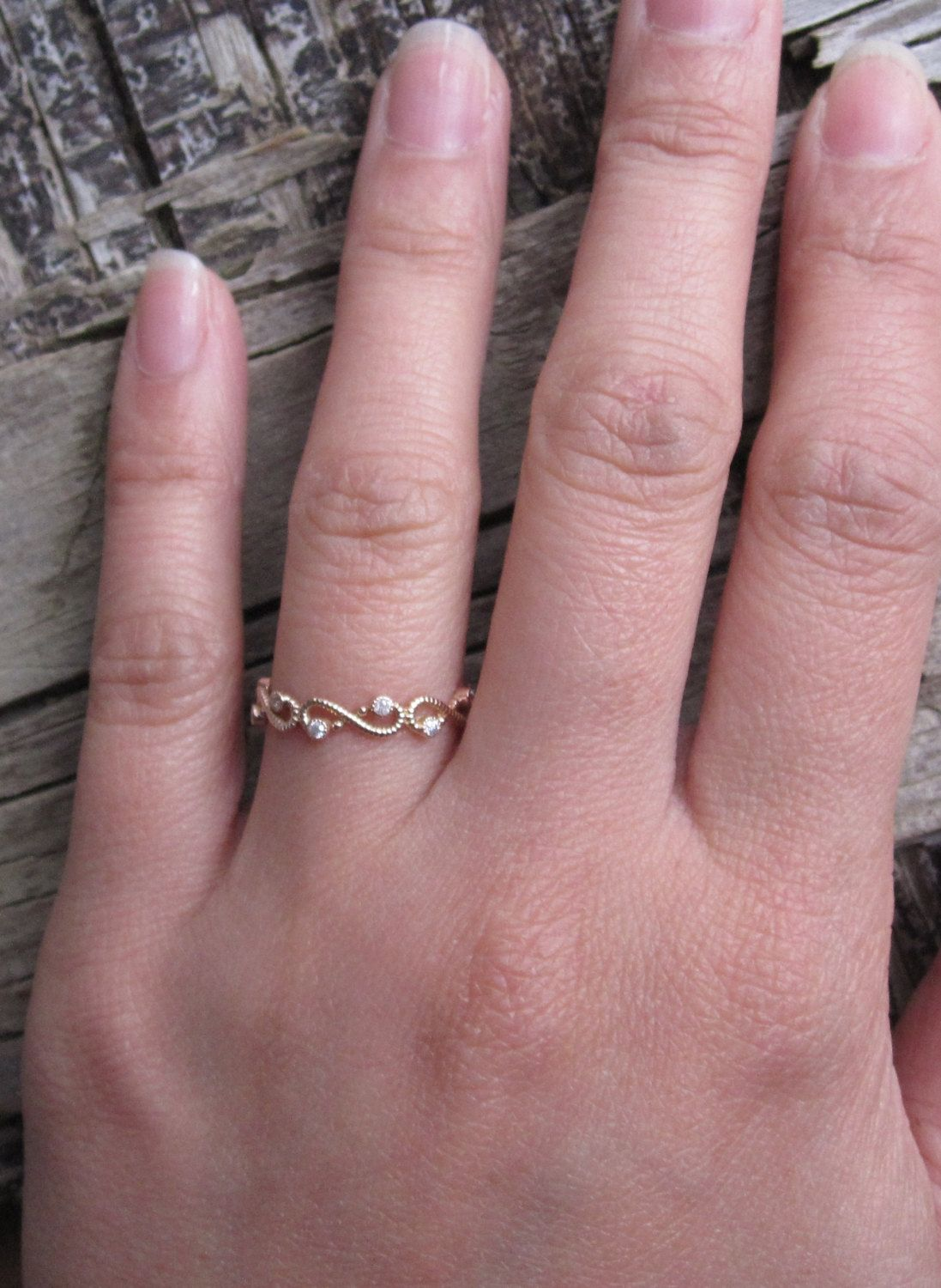 Engravable Scroll Diamond Eternity Stack Ring in 14K by Studio1040 ...