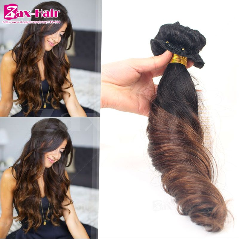 Clip In Human Hair Extensions Two Tone Brazilian Virgin Clip In Wavy